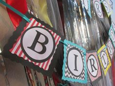Chevron and Stripe First Birthday Banner by BirdieFlies on Etsy, $36.00
