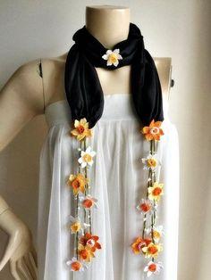 Silk Flower Scarf-Black Silk Scarf-Daffodil Scarf-Oya Scarf-Crochet Lace Scarf-Orange Yellow White Daffodil Scarf - #Daffodil #Flower #Lace #scarf #ScarfBlack #ScarfCrochet #ScarfDaffodil #ScarfOrange #ScarfOya #Silk #white #yellow