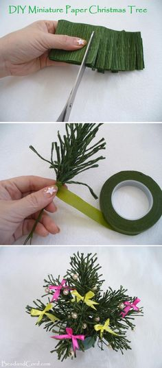 Cold air swept in, signaling for Christmas to come. Let's have fun and make this miniature Christmas tree. You can decorate your school desk or work cubicle with this lovely Christmas tree and bring in the holidays. Merry Christmas and Happy New Year! Christmas In July, All Things Christmas, Merry Christmas, Christmas Projects, Holiday Crafts, Deco Table Noel, Miniature Christmas Trees, Ideias Diy, Christmas Decorations