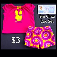 "Circo 9m Infant Girls ""Cutie"" 2pc Pink and Yellow Short Set $3"