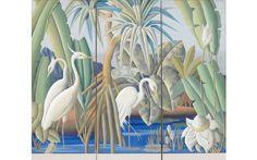 """Egrets and Pandanus"" - Lloyd Sexton (American, 1912-1990)"