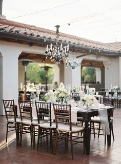 Outdoor Wedding Table Decor - www. Patrick Moyer Photography on Outdoor Wedding Tables, Wedding Table Settings, Wedding Reception Decorations, Wedding Receptions, Table Decorations, Decor Wedding, Outdoor Dining, Porches, Monochrome Weddings