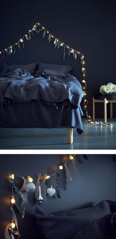 Tie ribbons and feathers to a light chain for a whimsical touch, and hang it above your bed as a headboard.