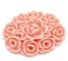 4 Resin PINK or IVORY ROSE Bouquet Cameo Cabochons 18x13mm by SmartParts, $2.99
