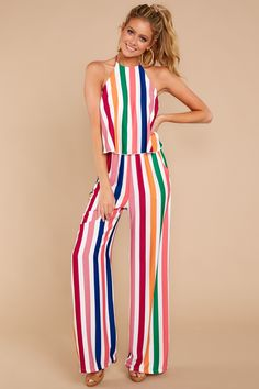 ccbbe8a559 Best All Around Pink Multi Stripe Jumpsuit
