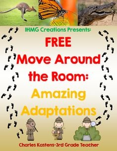 This product helps students better understand a variety of amazing animal adaptations, while moving around the room and interacting with their classmates!Students read about eight different adaptations, then work alone or in collaborative groups to answer various comprehension questions.