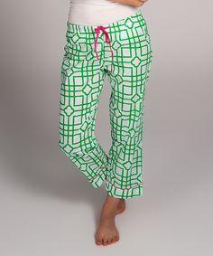 Look at this #zulilyfind! Green & White Isabelle Organic Capri Lounge Pants - Women #zulilyfinds