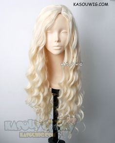 [Kasou Wig] Daenerys Targaryen Game of thrones / A Song of Ice and Fire pale blonde curly cosplay wig 80cm . Lolita wig