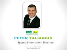 A promotional slideshow about the suburb of Riverton in the city of Perth, Western Australia. Peter Taliangis 0431 417 345    Please follow the link to my slide show: http://www.slideshare.net/petertaliangis1/real-estate-perth-western-australia-suburb-information-riverton
