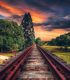 Train tracks into the sunset.