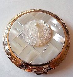 Vintage Mother Of Pearl & Gold Compact