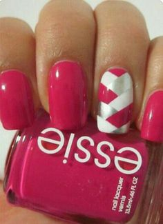 Striped Pink Nail Art ❤