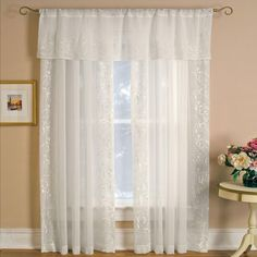 null Sheer Addison 60 in. W x 17 in. L, Rod Pocket Sheer Single Valance Window Curtain Drape, White