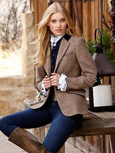 Casual day wear, lara harris tweed jacket harris tweed velvet collar loden elbow patch ...
