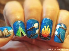 These nails are so incredibly adorable. What great imagination and a sense of fun this nail artist has! #glamping#marshmallows#nails