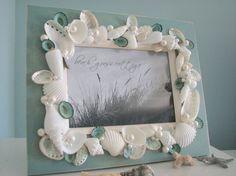 Beach Decor Shell Frame Seashell Frame w by beachgrasscottage Seashell Frame, Seashell Art, Seashell Crafts, Beach Crafts, Summer Crafts, Holiday Crafts, Crafts To Make, Fun Crafts, Crafts For Kids
