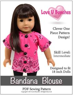 BANDANA BLOUSE 18 INCH DOLL CLOTHES