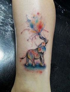 New Tattoo Watercolor Elephant Colour Ideas Watercolor Elephant Tattoos, Colorful Elephant Tattoo, Elephant Colour, Watercolor Tattoo, Watercolor Water, Watercolor Animals, Elephant Design, Sister Tattoos, Dog Tattoos
