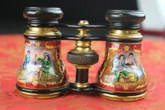 Estate Antique French Guilloche Enamel Hand Painted Opera Glass Binoculars   eBay