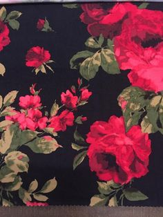 Winter Red Roses with Sage on Black Background: Brushed Poly Fabric Perfect for Leggings and Tops!  This brushed poly is so soft and buttery you won't want to t