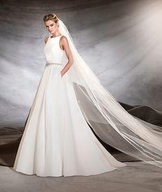 Oval, bateau neckline Pronovias wedding dress #weddingdress