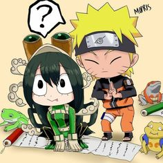 asui tsuyu blonde hair boku no hero academia crossover frog highres naruto naruto (series) scroll split-toe footwear tagme tongue tongue out uzumaki naruto - Image View - Deku Hero Academia, My Hero Academia Memes, Anime Crossover, Anime Naruto, Sasuke, All Anime, Manga Anime, Tsuyu Asui, Cartoon Crossovers