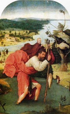 Saint Christopher - Hieronymus Bosch (Museum Boijmans van Beuningen, Rotterdam, Netherlands.) http://museumrotterdam.nl/bezoek?gclid=CO7D79ub_MQCFc8kgQodHoIAWA