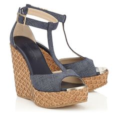 Jimmy Choo PELA Denim Leather with Lasered Cork Covered Wedges