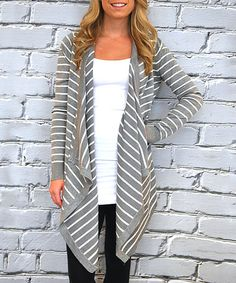 This Gray & Ivory Thin-Stripe Open Duster by Olivia & Jane is perfect! #zulilyfinds