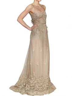 Luisa Beccaria Lace On Silk Tulle Long Dress in Beige