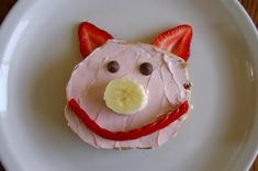 Bagel pig - make 3 for the 3 little pigs. Use cranberries for mouth instead of licorice.