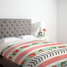 DENY Designs Allyson Johnson Floral Stripes And Arrows Duvet Cover in Pink - BedBathandBeyond.com