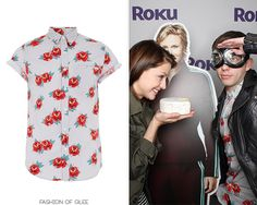 Melissa Benoist and Kevin McHale attend the launch of the Roku 3, Austin, March 10, 2013  Topman Grey Tattoo Rose Print Short Sleeve Shirt - $56.00