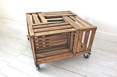 Apple Crate Coffee Table on 360 Swivel Rubber Castors with Brakes - www.inspiritdeco.com