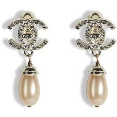Chanel Vintage Pearl and Crystal Double C Earrings
