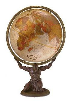 Replogle Atlas World Globe. h1Replogle Atlas World Globe_h1Focused strength.Zeus persuades Atlas, a Titan,to repent for his sins against the gods of ancient Greece by forcing him to support the world on his shoulders.This detailed bronze resin repli.. . See More World Globes at http://www.ourgreatshop.com/World-Globes-C1121.aspx