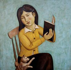 Reading Girl Distracted by Cat  2013   -  Rick Beerhorst