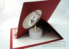 stampin up, dostamping, dawn olchefske, demonstrator, window easel card with tea light, joyous celebrations, christmas