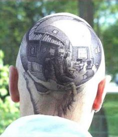 Weird Baldhead Tattoos - Now this is a Chrome Dome