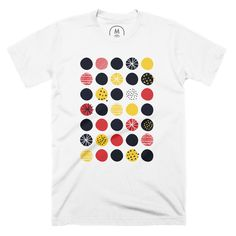 """Funky Polka Dots"" graphic designer t-shirt by Alejandra Martinez. 