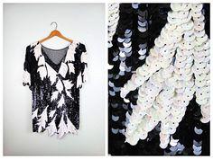 Black & White Sequin Art Deco Mini Dress  Fully Sequined by braxae