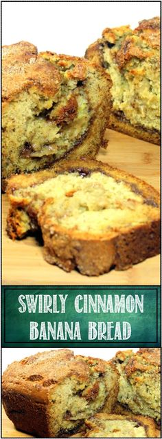 Swirly Cinnamon Banana Bread... New twist to an old stand by recipe. Those last 2 bananas, the over ripe, turning black and mushy ones are turned into a wonderful breakfast snack bread. Like a marriage of Cinnamon toast and Banana Muffins! And EASY!