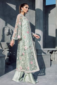 Mint Green Floral Beaded Long Jacket with Silk Inner & Boot Cut Pants, Elan Inspired Hand Embroidered Dress - Pakistani dresses Pakistani Dress Design, Pakistani Outfits, Indian Outfits, Modest Fashion, Fashion Dresses, Party Wear, Party Dress, Beaded Gown, Mode Hijab