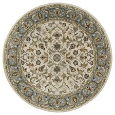 Hand-tufted Royal Taj Beige Wool Rug (7'9 Round) | Overstock.com Shopping - The Best Deals on Round/Oval/Square