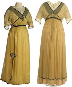 Dress, Mercedes Altarriba, Madrid, ca. 1910-14. Silk and cotton lace. Yellow silk satin with overlay of fine yellow cotton gauze. Black silk satin band, with black glass beads, at neckline front & back and waistline. Museo del Traje