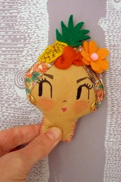 Lady With The Tutti Frutti Hat Brooch Wearable Art by CuriousPip, £23.00