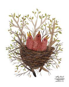 rosy finch fledglings bird art print