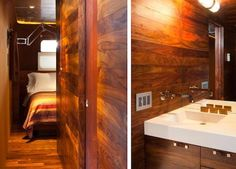 view of bedroom and bath outfitted with Hansgrohe fixtures in Jane Hallworth's 1955 trailer