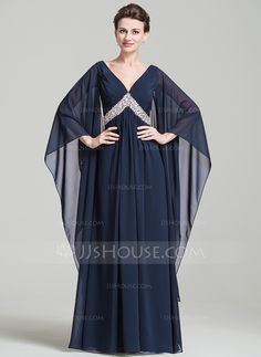 Empire V-neck Floor-Length Chiffon Mother of the Bride Dress With Ruffle Beading Sequins (008080196)