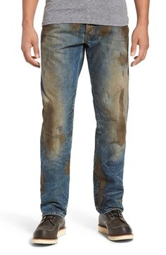 The end of manhood $425 men's jeans that according to Nordstrom: Americana workwear that's seen some hard-working action with a crackled, caked-on muddy coating that shows you're not afraid to get down and dirty.